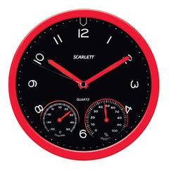 Часы настенные SCARLETT SC-WC1011O, круг, черные, красная рамка, 31x31x5,2 см