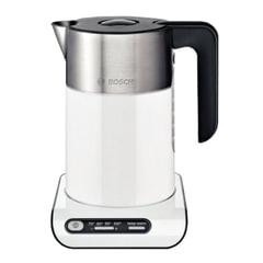 Чайник BOSCH TWK8611P, 1,5 л, 2400 Вт, закрытый нагревательный элемент, нержавеющая сталь, белый