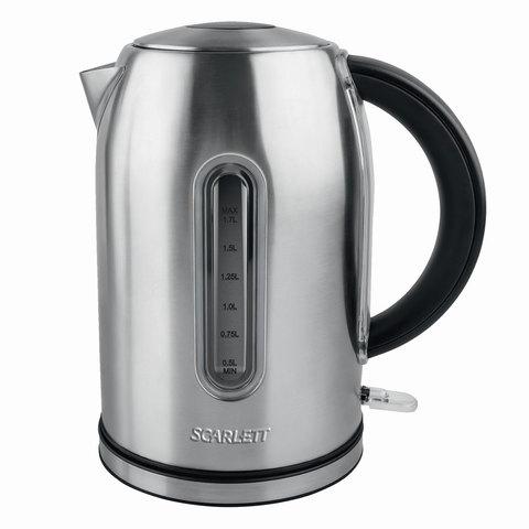 Чайник SCARLETT SC-EK21S32, 1,7 л, 2200 Вт, закрытый нагревательный элемент, сталь