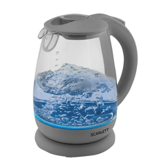 Чайник SCARLETT SC-EK27G24, 1,7 л, 2000 Вт, закрытый нагревательный элемент, стекло, серый
