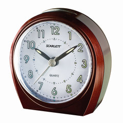 Часы-будильник SCARLETT SC-840, электронный сигнал, пластик, бургунди