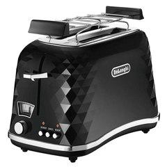 Тостер DELONGHI CTJ2103.BK, 900 Вт, 2 тоста, разморозка, подогрев, решетка для булочек, черный