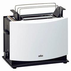 Тостер BRAUN HT450 WH, 1080 Вт, 2 тоста, 7 режимов, разморозка, подогрев, решетка для булочек, белый