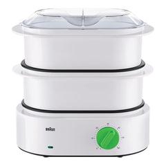 Пароварка BRAUN FS3000, 850 Вт, 2 чаши по 3,1 л, контейнер для риса, механическое управление, таймер, белая
