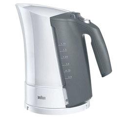 Чайник BRAUN WK-500.WH, 1,7 л, 3000 Вт, скрытый нагревательный элемент, пластик, белый/серый