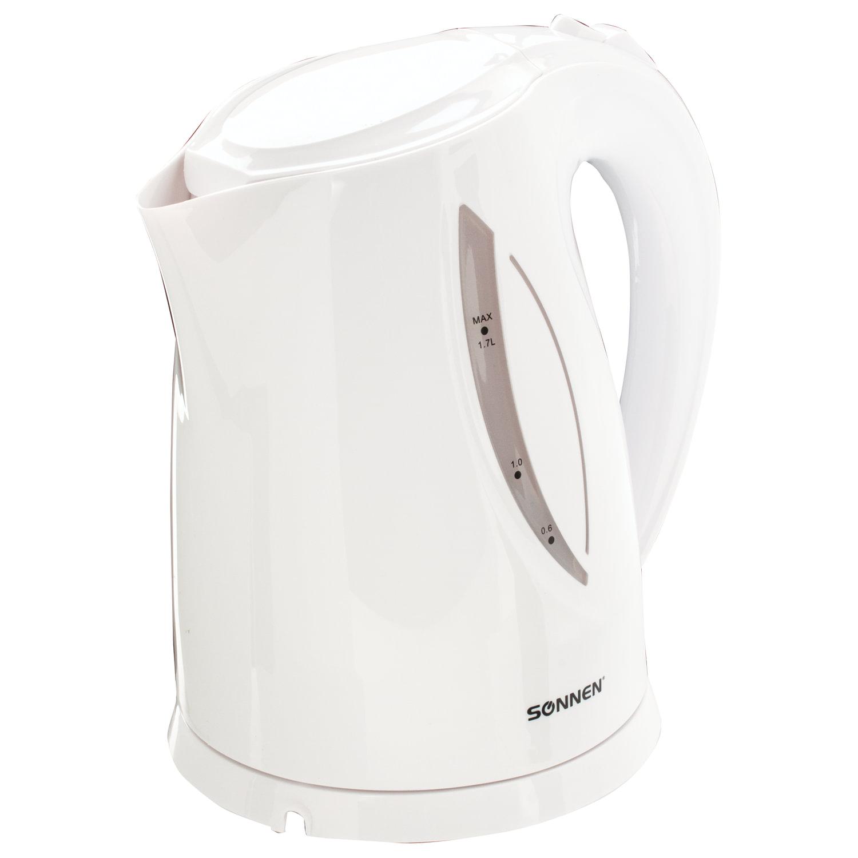 Чайник SONNEN KT-1758, 1,7 л, 2200 Вт, закрытый нагревательный элемент, пластик, белый