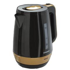 Чайник SONNEN KT-1776, 1,7 л, 2200 Вт, закрытый нагревательный элемент, пластик, черный/горчичный
