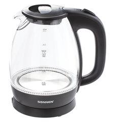 Чайник SONNEN KT-1786, 1,7 л, 2200 Вт, закрытый нагревательный элемент, стекло, 453422