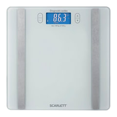 Весы напольные диагностические SCARLETT SC-BS33ED85, электронные, вес до 180 кг, квадратные, стекло, белые