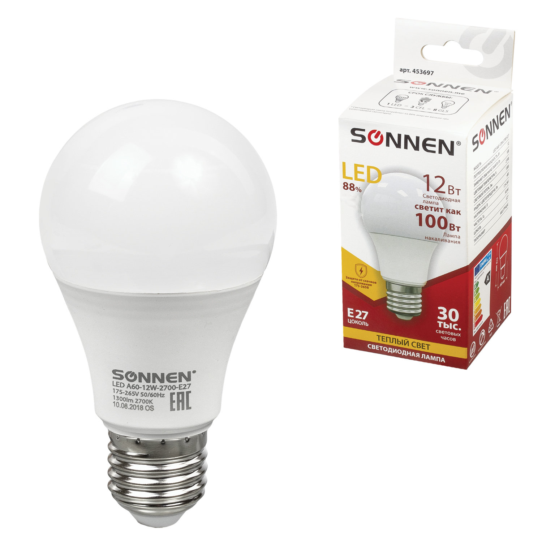 Лампа светодиодная SONNEN, 12 (100) Вт, цоколь Е27, грушевидная, теплый белый свет, LED A60-12W-2700-E27, 453697