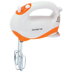Миксер POLARIS PHM 2010, 150 Вт, 5 скоростей, 2 венчика, белый/оранжевый