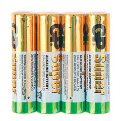 Батарейки GP Super, AAA (LR03, 24А), алкалиновые, комплект 4 шт., в пленке