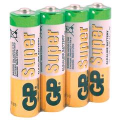 Батарейки GP Super, AA (LR06, 15А), алкалиновые, комплект 4 шт., в пленке