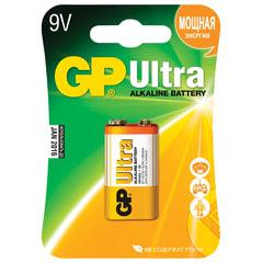 Батарейка GP Ultra, Крона (6LR61, 6LF22, 1604A), алкалиновая, 1 шт., в блистере