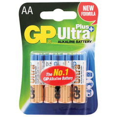 Батарейки GP Ultra Plus, AA (LR06, 15А), алкалиновые, комплект 4 шт., в блистере