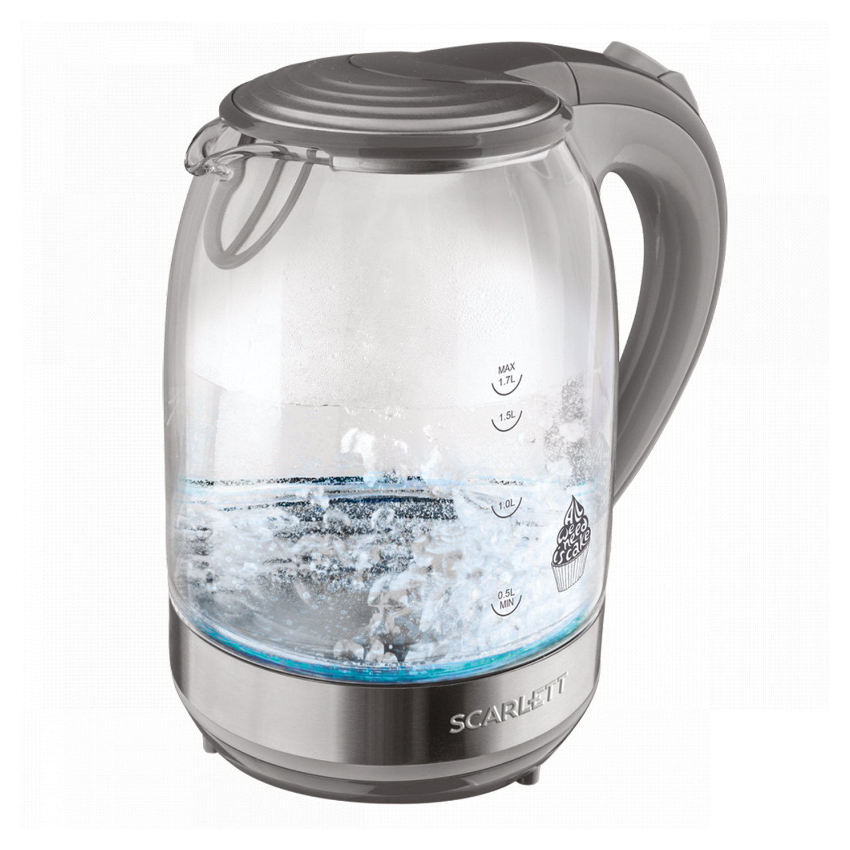 Чайник SCARLETT SC-EK27G64, 1,7 л, 2200 Вт, закрытый нагревательный элемент, стекло, черный