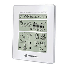 Метеостанция BRESSER 5в1, 3 термодатчика, гигрометр, барометр, ветромер, дождемер, будильник, белый