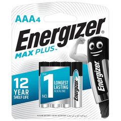 Батарейки ENERGIZER Max Plus, AAA (LR03, 24А), алкалиновые, КОМПЛЕКТ 4 шт., в блистере