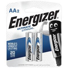Батарейки ENERGIZER Ultimate Lithium, AA (FR06, 15А), литиевые, КОМПЛЕКТ 2 шт., в блистере
