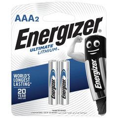 Батарейки ENERGIZER Ultimate Lithium, AAA (FR03, 24А), литиевые,КОМПЛЕКТ 2 шт., в блистере