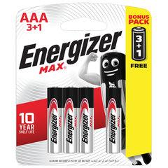 Батарейки ENERGIZER Max, ПРОМО 3+1, AAA(LR03, 24А), алкалиновые, КОМПЛЕКТ 4 шт., в блистере