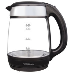 Чайник NATIONAL NK-KE17315, закрытый нагревательный элемент, объем 1,7 л, мощность 2200 Вт, стекло, черный