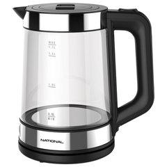 Чайник NATIONAL NK-KE17322, 1,7 л, 2200 Вт, закрытый нагревательный элемент, стекло, черный