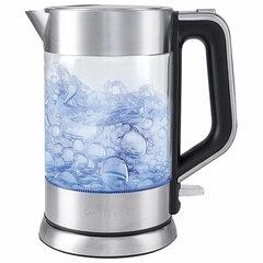 Чайник KITFORT КТ-617, 1,5 л, 2200 Вт, закрытый нагревательный элемент, стекло, серебристый