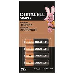 Батарейки КОМПЛЕКТ 4 шт. (отрывной блок), DURACELL Simply, AA (LR06, 15А), алкалиновые, пальчиковые