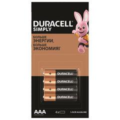 Батарейки КОМПЛЕКТ 4 шт. (отрывной блок), DURACELL Simply, AAА (LR03, 24А), алкалиновые, мизинчиковые