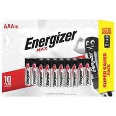 Батарейки КОМПЛЕКТ 16 шт., ENERGIZER Max, AAA (LR03,24А), алкалиновые, мизинчиковые