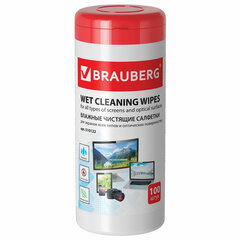 Салфетки для экранов всех типов и оптики BRAUBERG, 13х17 см, туба 100 шт., влажные, 510122