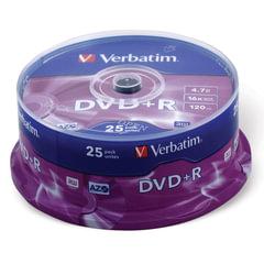 Диск DVD+R (плюс) VERBATIM, 4,7 Gb, 16x, 25 шт., Cake Box