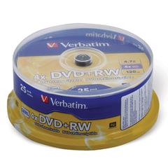 Диск DVD+RW (плюс) VERBATIM, 4,7 Gb, 4x, 25 шт., Cake Box