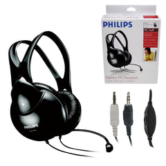 Наушники с микрофоном (гарнитура) PHILIPS SHM1900/00, проводная, 2 м, стерео, с оголовьем, регулятор громкости