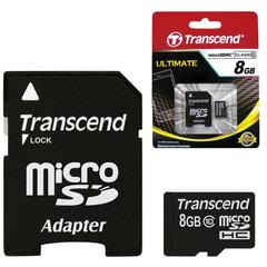 Карта памяти micro SDHC, 8 GB, TRANSCEND, 10 Мб/сек. (class 10), с адаптером