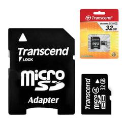 Карта памяти micro SDHC, 32 GB, TRANSCEND, 4 Мб/сек. (class 4), с адаптером