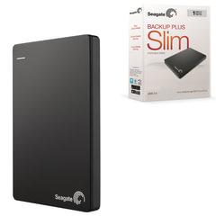 Диск жесткий внешний SEAGATE Backup Plus Slim, 1 TB, USB 3.0/2.0, черный