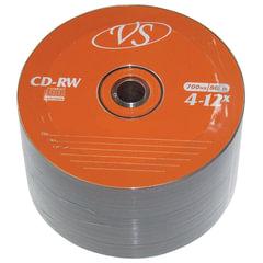Диски CD-RW VS 700 Mb 4-12x, КОМПЛЕКТ 50 шт., Bulk