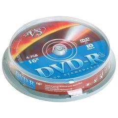 Диски DVD-R VS, 4,7 Gb, 10 шт., Cake Box