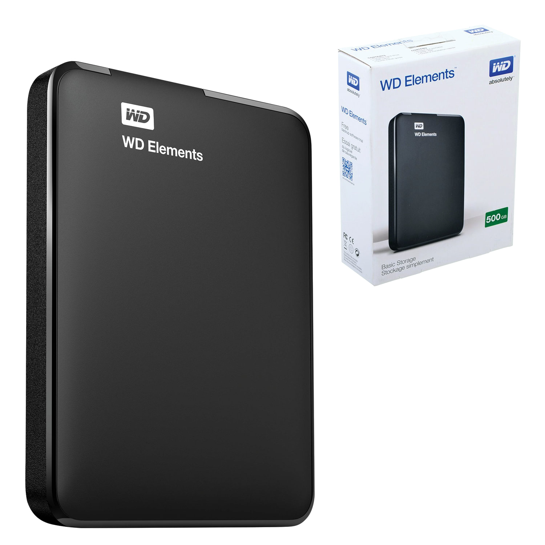 """Диск жесткий внешний HDD WESTERN DIGITAL """"Elements Portable"""", 500 GB, 2,5"""", USB 3.0, черный"""