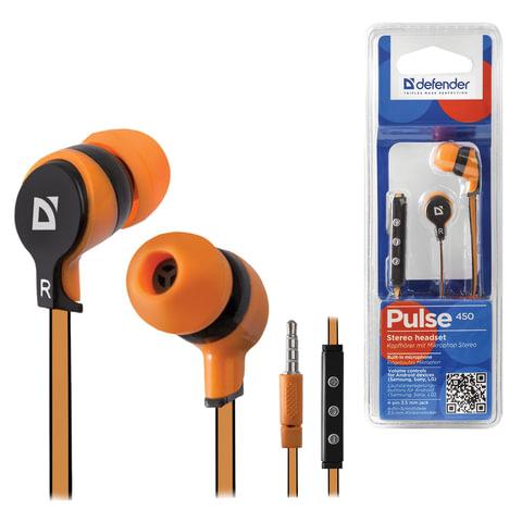 Наушники с микрофоном (гарнитура) DEFENDER Pulse 450, проводная, 1,2 м, вкладыши, для Android, оранжевая