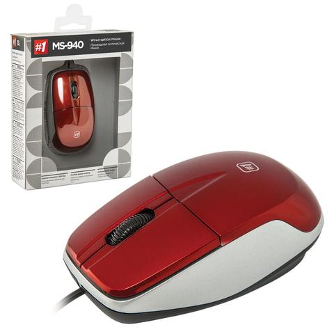 Мышь проводная DEFENDER MS-940, USB, 2 кнопки + 1 колесо-кнопка, оптическая, красная