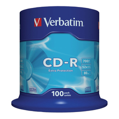 Диски CD-R VERBATIM 700 Mb 52х, КОМПЛЕКТ 100 шт., Cake Box