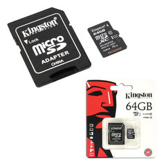 Карта памяти micro SDXC, 64 GB, KINGSTON, UHS-I U1, 45 Мб/сек. (class 10), с адаптером