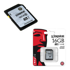 Карта памяти SDHC, 16 GB, KINGSTON, UHS-I U1, 45 Мб/сек. (class 10)