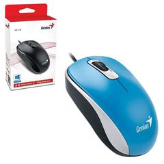 Мышь проводная GENIUS DX-110, USB, 2 кнопки + 1 колесо-кнопка, оптическая, голубая