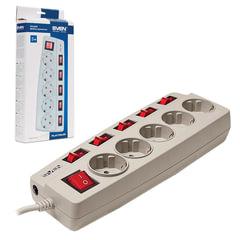 Сетевой фильтр SVEN Platinum, 5 розеток, 3 м, защитные шторки, отдельные выключатели, серый