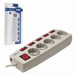 Сетевой фильтр SVEN Platinum, 5 розеток, 5 м, защитные шторки, отдельные выключатели, серый