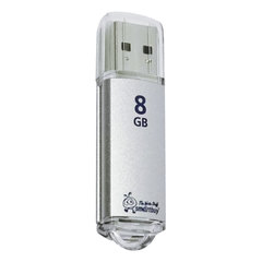 Флэш-диск 8 GB, SMARTBUY V-Cut, USB 2.0, металлический корпус, серебристый